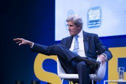John F. Kerry speaking at the Global Table 2019 conference