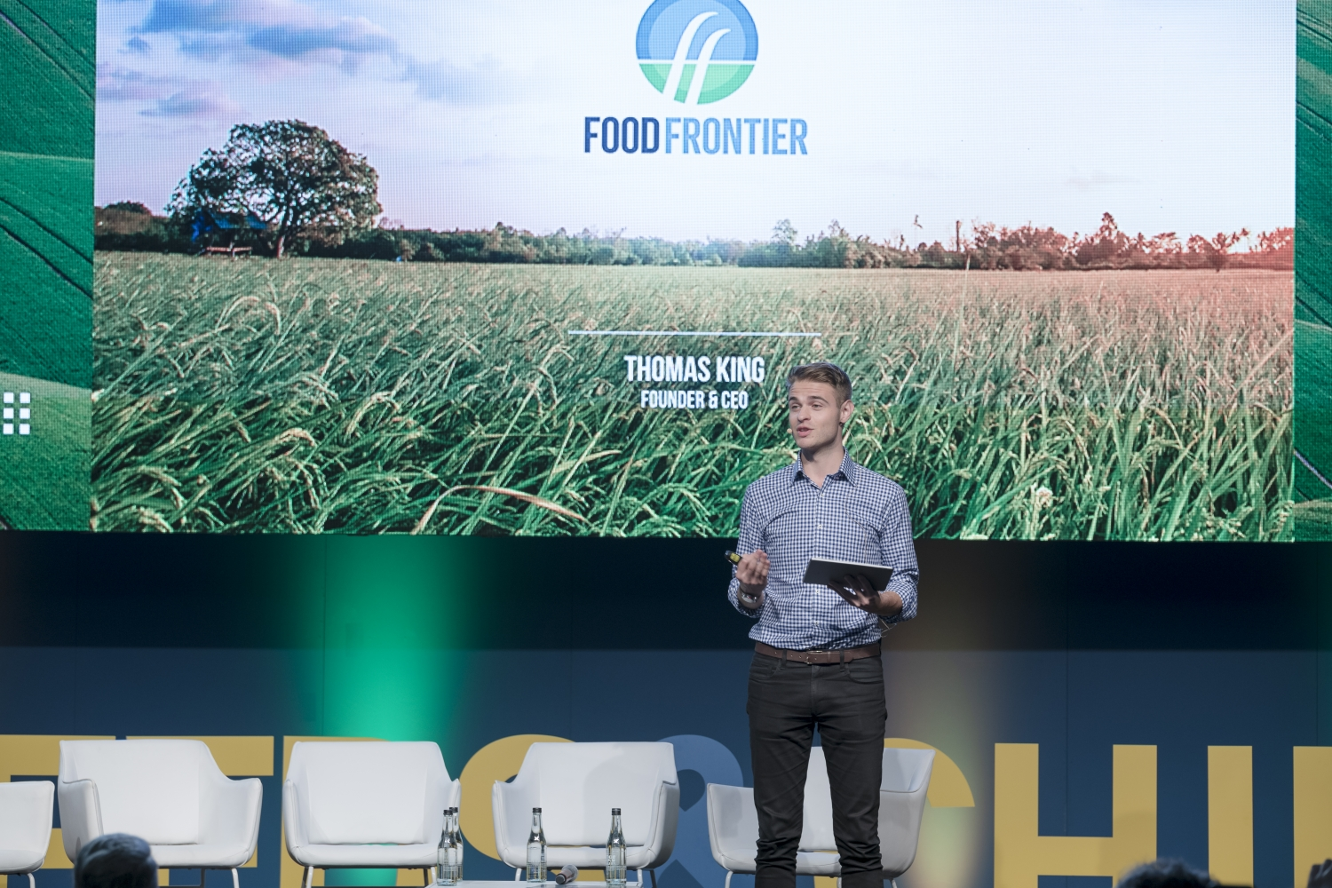 Thomas King of Food Frontiers addressing the crowd at Global Table 2019